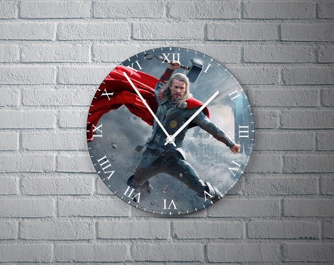 11.8'' Wall Clock Thor Design Vinyl Clock Decal, Unique Thor Design Wall Clock, Vinyl Home Decor Wall Clock, Custom Made Thor Wall Clock