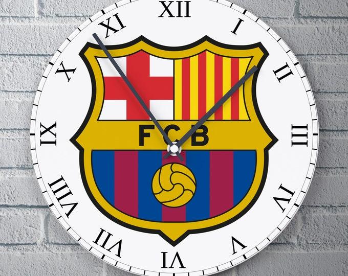 11.8'' Wall Clock FC Barcelona Logo Design Vinyl Clock Decal, FCB Logo Design Wall Clock, Vinyl Decor Wall Clock, FC Barcelona Lover Clock