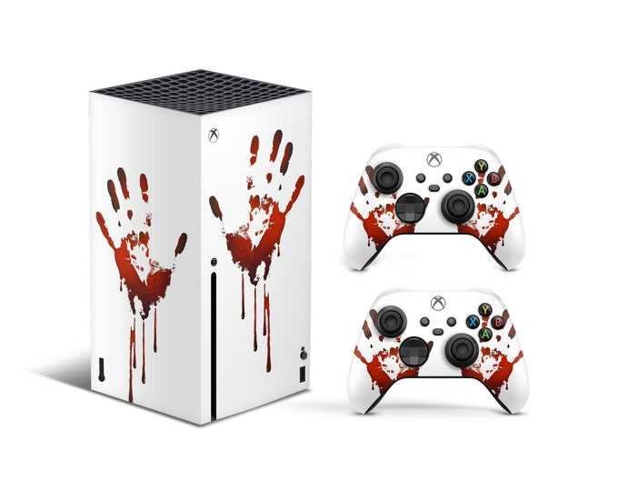 WATERPROOF STICKER - GAMING Stickers - 3mm Vinyl Stickers - Bloody Hand Style Full Body Game Skin Xbox Series X Skin - Gift For Gamer