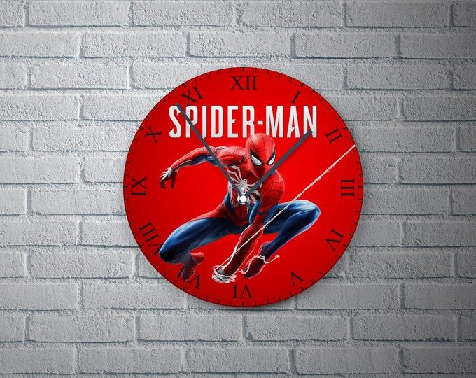 11.8'' Wall Clock SPIDERMAN Design Vinyl Clock Decal, Spiderman Design Wall Clock, Round Vinyl Home Decor Wall Clock,  Made Spiderman Clock