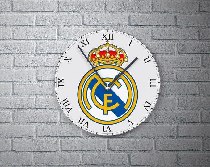 11.8'' Wall Clock Real Madrid Design Vinyl Clock Decal, Real Madrid Design Wall Clock, Round Vinyl Decor Wall Clock, Made Real Madrid Clock