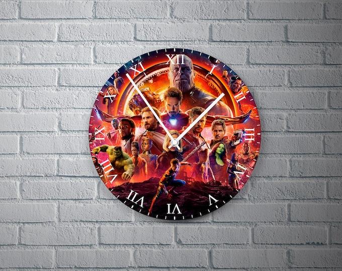 11.8'' Wall Clock Avengers Infinity War Design Vinyl Clock Decal, Avengers Infinity War Design Wall Clock, Round Vinyl Home Decor Wall Clock