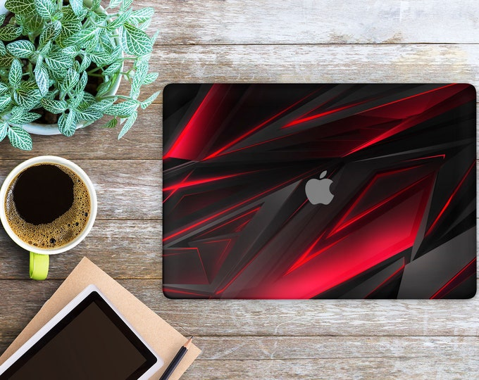 APPLE MACBOOK Black-Red Polygon SKINS vinyl decal cover for all body laptop protection