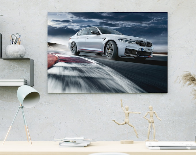 BMW M5 White Car Canvas | Art Canvas | Wall Art Canvas | Framed Painting | Home Wall Decor | Bedroom Canvas | Canvas Printing Art | Canvas