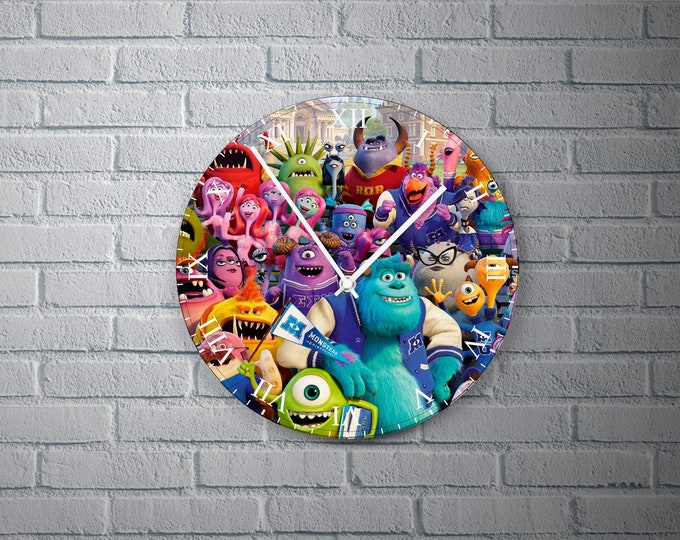 11.8'' Wall Clock Monsters Desing Vinyl Clock Decal, Colorful Monsters Vinyl Record Wall Clock, Monsters Design Clock Gift for Any Occasion