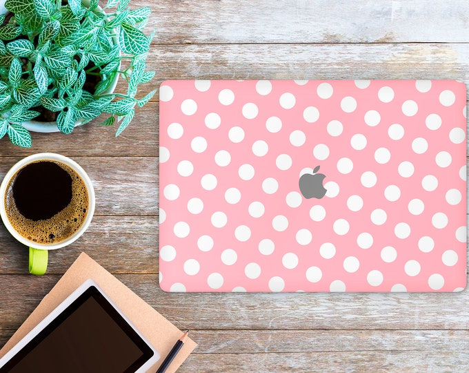 APPLE MACBOOK White Dots on Pink SKINS vinyl decal cover for all body laptop protection