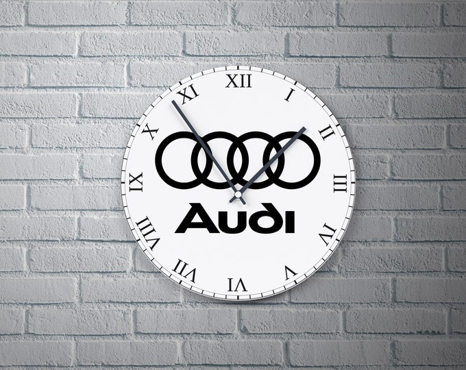 11.8'' Wall Clock AUDI Design Vinyl Clock Decal, Unique AUDI Logo Design Wall Clock, Round Vinyl Decor Wall Clock, Made AUDI Wall Clock