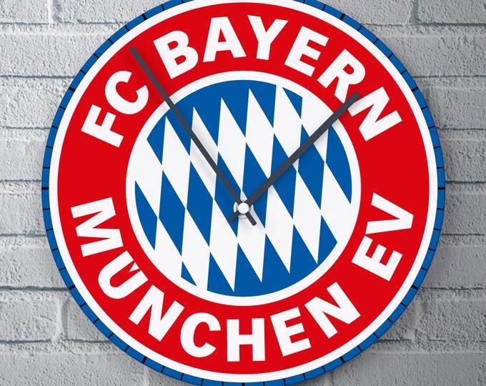 11.8'' Wall Clock FC Bayern München Logo Design Vinyl Clock Decal, Bayern München Football Logo Design Wall Clock, Vinyl Decor Wall Clock