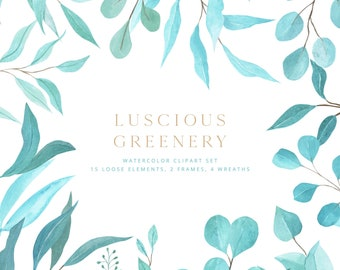 Watercolor Greenery Clipart, Floral Clipart, Botanical Clipart, Watercolor Botanical Clipart, Digital Clipart, Clipart png, Wedding invites