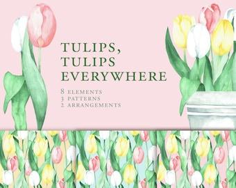 Watercolor Tulips Clipart, Watercolor Tulips Arrangement, Tulips seamless pattern, Tulip digital paper, Watercolor flower arrangements