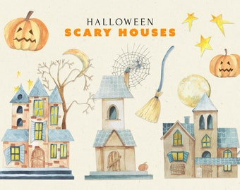 Halloween Scary House, Halloween watercolor clipart, Scary Houses Collection, Halloween Pumpkin png, Halloween Vibes clipart, Spooky Clipart