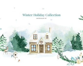 Classic Christmas Watercolor Graphic Set, Premade postcards, Wreaths and Compositions. PNG cliparts, INSTANT DOWNLOAD
