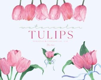 Watercolor Tulips Clipart, Tulips graphic set, Tulip png, Watercolor Flowers png transparent background, Tulips arrangement, Tulip Frame