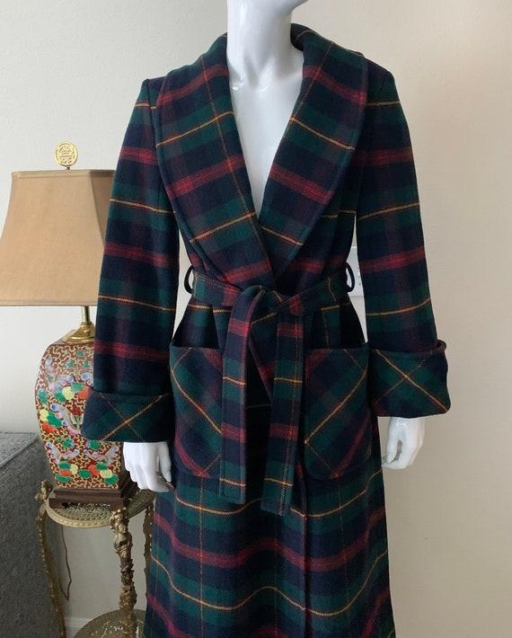 Pendleton Wool Belted Plaid Coat Vintage Sz Small