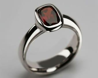 925 Sterling Silver Simple Ring 4.30 Carat Garnet Rectangle Natural Gemstone Handmade Ring Natural GarnetGomed.,Valentine Day Gift.