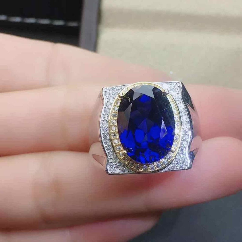 925 Sterling Silver birthday Big size 10x14mm Ring,Christmas Gift Royal Blue Sapphire Gemstone Ring for men