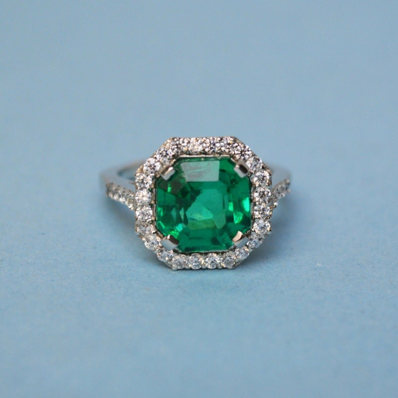 5.25 Ct EmeraldZircon  Engagement Ring 925 Sterling Silver Natural Certified Christmas Gift