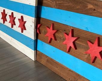 "Chicago Flag Reclaimed Wood Wall Decor 36""x19""x1"""