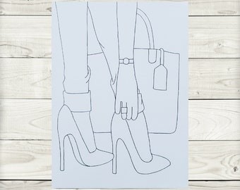 Paint and Sip Kit Heels wBow Pre-Sketched Canvas For Painting Art Kits Paint Kits Adult Paint Kit Pre-drawn