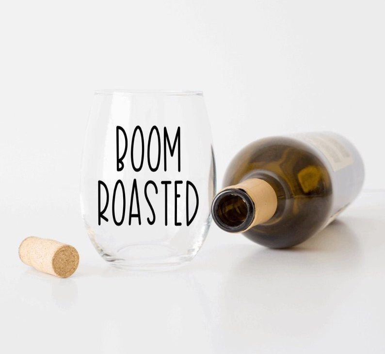 The Office Boom Roasted Michael Scott stemless wine glass with custom color options perfect gift for The Office fans!
