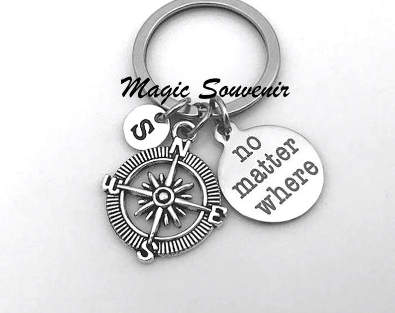 Compass keychain Initial Keychain Compass Charm Relationship No Matter Where Keychain Long distance gift Best Friend gift BFF Gift