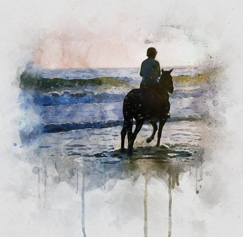 Watercolor Horse Portrait Custom Pet Portrait Painting From Photo Gifts for Family