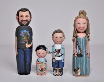 Custom Peg Dolls - Large Size(4 3/4in - 12cm) - Family Portrait - Personalized Dolls - Montessori Toys - Custom Pet Portrait