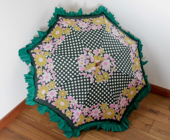 Vintage frilly floral umbrella from the 1970s