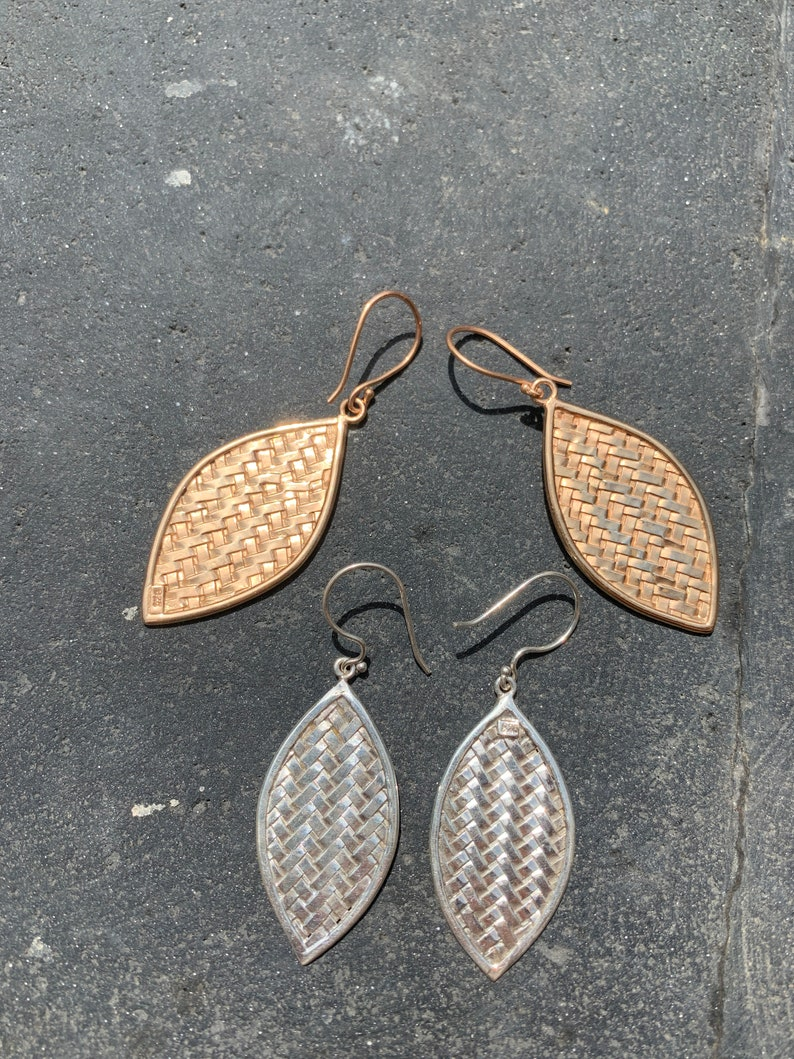 Best Gift Long Distance Unique Gift Natural Earrings Set EARING LEAF ANYAMAN silver with rose gold plaited from Bali Silver Earrings