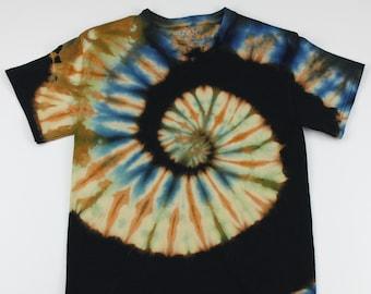 Adult Small Beach Black Swirl Reverse Tie Dye Shirt