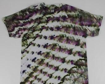 Adult Large Moss Green & Purple Twist Ice Tie Dye Shirt