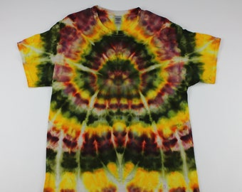 Adult Large Yellow Autumn Spider Ice Tie Dye Shirt