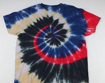Adult XL Red Streak through the Black & Blue Swirl Tie Dye Shirt