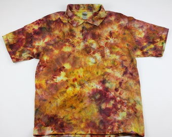 Adult Large Burning Fire Ice Tie Dye Polo Shirt