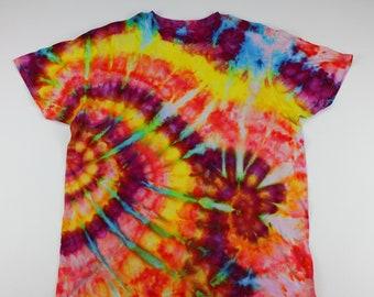 Adult XL Primary Busy Swirls Ice Tie Dye Shirt