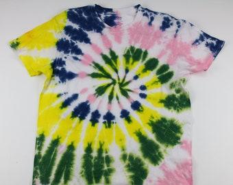Adult Large Pink, Green Yellow, Blue & You Swirl Tie Dye Shirt