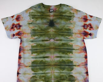 Adult XL Moss Green and Burgundy Turtle Ice Tie Die Shirt