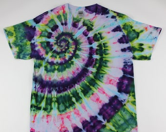 Adult Large Wild Flowers on White Spiral Ice Tie Dye Shirt