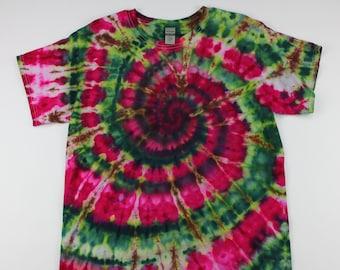 Adult Large Deep Watermellon Color Swirl Ice Tie Dye Shirt