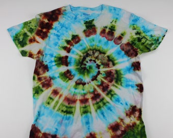 Adult Large Blue Sky Through The Forest Swirl Ice Tie Dye Shirt