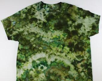 Adult XL Green Camo Crumple Ice Tie Dye Shirt