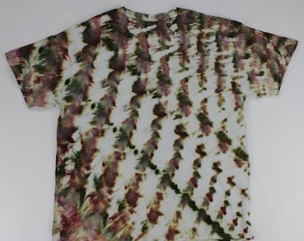 Adult XL Vertical Moss Green & Burgundy Twist Ice Tie Dye Shirt