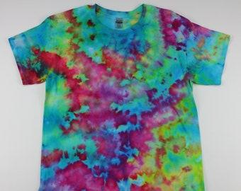 Adult Large Neon Fish Tank Crumple Ice Tye Dye Shirt