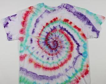 Adult XL Red, Teal & Purple Swirp Ice Tie Dye Shirt