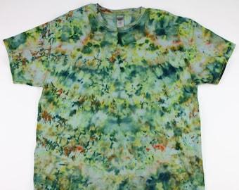 Adult XL Acid Greens Crumple Ice Tie Dye Shirt