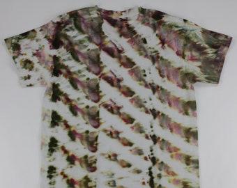 Adult Large Moss Green & Burgundy Diagonal Twist Ice Tie Dye Shirt