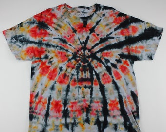 Adult XL Red & Orange Spider Ice Tie Dye Shirt