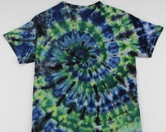 Adult Small Black, Green & Blue Swirl Ice Tie Dye Shirt