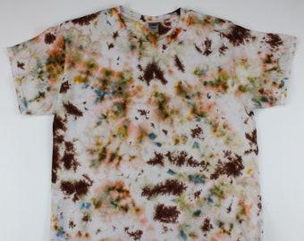 Adult Large Brown Blotches Crumple Ice Tie Dye Shirt