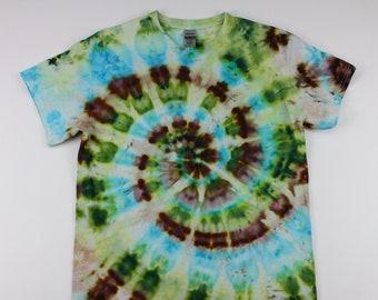 Adult Medium Sunny Spiral Through the Trees Ice Tie Dye Shirt